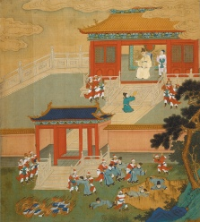 An eighteenth-century painting showing Emperor Qin Shi Huang of the Qin dynasty 'burning all the books and throwing scholars into a ravine' in order to stamp out ideological nonconformity after the unification of China in 221 BCE. 'For over two millennia,' Ian Johnson writes, 'all our knowledge of China's great philosophical schools was limited to texts revised after the Qin unification.' Now a trove of recently discovered ancient documents, written on strips of bamboo, 'is helping to reshape our understanding of China's contentious past.' Illustration from Henri Bertin's album The History of the Lives of the Chinese Emperors.